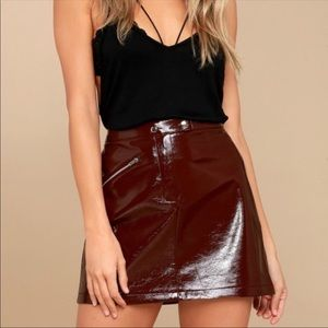 Lulus run this town mini leather red skirt